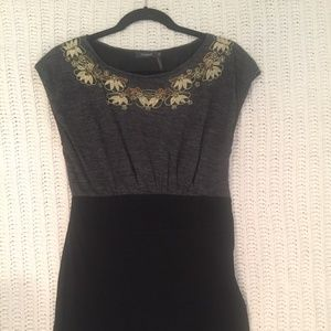 ModCloth Dress Gray Black Metallic Embroidery, M